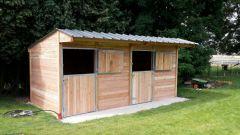 Double box pour chevaux en bois Douglas ((3x3)(3x3))